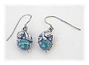 Sterling Silver 2 Frogs On A  Malachite Ball Earrings (Image1)