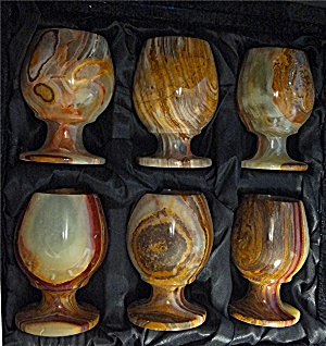 Alabaster Egg Cups With Velvet Case, 6 Cups