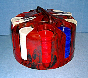 Lucite Poker Caddy with Chips and Cards  . . . . . . (Image1)