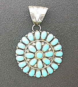 Sterling Silver Turquoise Signed Swm Pendant Pin