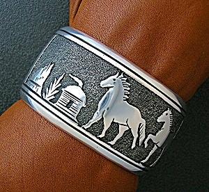 Native American Tommy Singer Sterling Silver Horses Cuf