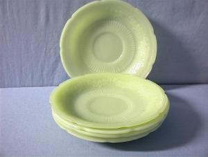 6 Jadeite Fire King Saucers. (Image1)