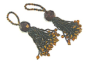 Black and Gold Glass Bead Tassles (Image1)