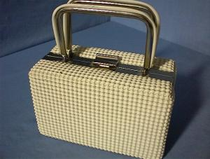 60s White Plastic Box Bag USA (Image1)