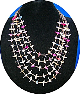 Heishi Birds 5 Strand Necklace Pink Blue Gold Tan (Image1)