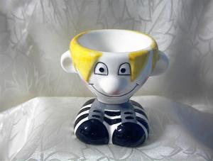 Funny Face Soccer Person Egg Cup