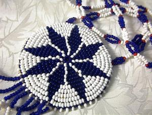 Doeskin Red White Blue Black Beaded Ethnic Necklace