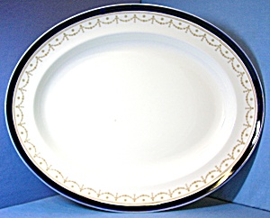 Turkey Platter Alfred Meakin England Blue Gold White