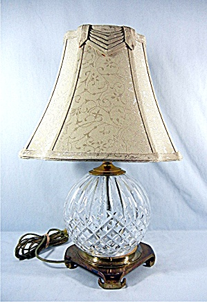 Waterford Lismore Lamp With Shade Brass Footed Glass