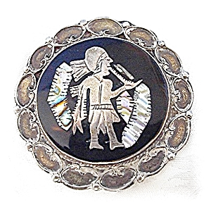 Large Old Mexican Sterling Abalone Brooch (Image1)