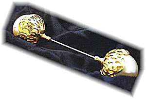 Vintage  Double Pearl Filigree Goldtone  Hat Pin (Image1)