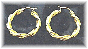 Earrings 14K Gold Twist Hoop Pierced  (Image1)