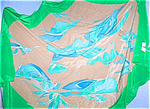 Silk Scarf, Oversize, Green/Blue/Tan, (Image1)