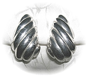 Silvertone Clip Earrings, signed CAROLEE . . . . . (Image1)