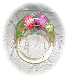 Plastic - Lucite Flower Ring . . . . . . . .