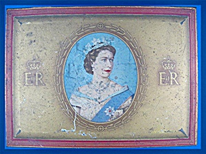 1953 Gold Flake Cigarette Tin Queen Elizabeth II Corona (Image1)