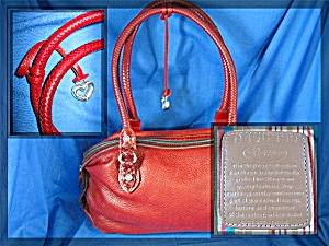 Brighton Handbag, Red Pebble Leather