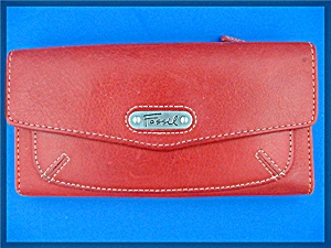 Fossil Checkbook Clutch In Red Leather