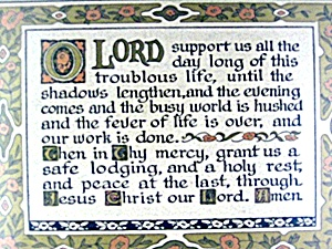 Vintage Framed Prayer Lord Support us 40s (Image1)