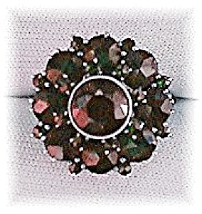 Antique 800 European Silver Ruby Garnet Cluster Ring . (Image1)