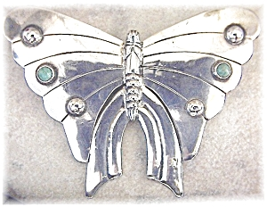 Sterling Silver  Butterfly Turquoise Mexico (Image1)