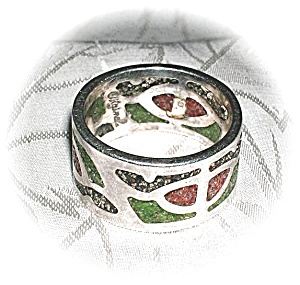 Signed Sterling Silver Coral & Turquoise Ring (Image1)