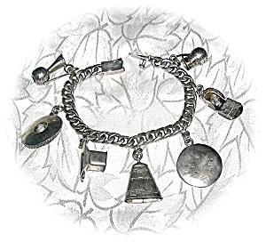 Charm Bracelet Mexico Plateria GIL Sterling Silver 7 Ch (Image1)