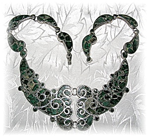 Heavy Taxco Sterling Silver Inlay Necklace (Image1)