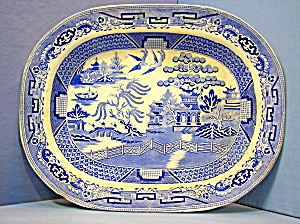 English Willow pattern Blue  White Platter H &K (Image1)