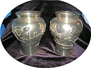 Pair of Victorian/Edward ENGLISH Brass Vases. (Image1)