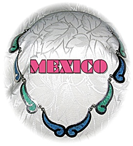 Mexico Blue Green Inlay Silver  Necklace (Image1)