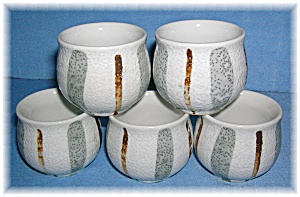 5 Grey/Tan Pottery Egg Cups (Image1)