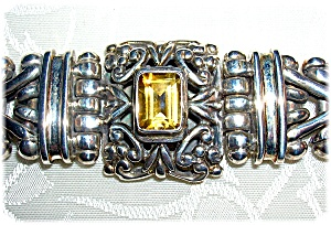 Heavy Sterling Silver and Citrine Bracelet (Image1)