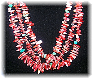 3 Strand Spiney Oyester Turquoise Heishi Bead Necklace (Image1)