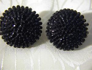 Antique Black Glass Bead Clip Earrings (Image1)