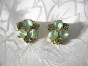 Claw Set Green Rhinestone  Cabochon Glass clip earrings (Image1)