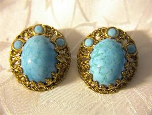 Goldtone & Turquoise Glass W. GERMANY Clip Earrings (Image1)