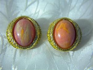 Goldtone & Faux Coral Clip Earrings (Image1)