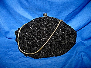 Satin Evening Bag Black Beaded, Sequinned (Image1)
