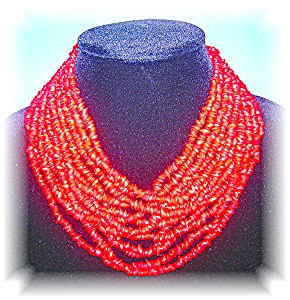 Coral or Glass Necklace 12 Strands (Image1)