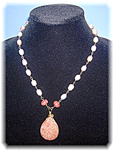 Designer Gold Wired Sunstone And Pearl Necklace