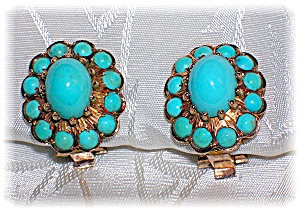 Earrings 14K Gold and Persian Turquoise Clip  (Image1)