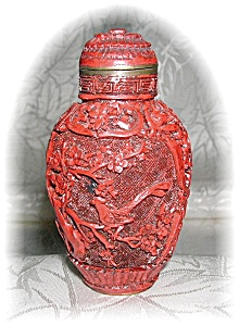 Cinnabar Chinese Snuff Bottle Red Color
