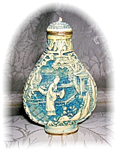 CINNABAR CHINESE SNUFF BOTTLE CREAM BLUE (Image1)