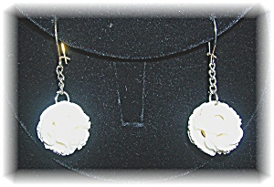Bone Ivory Hand Carved Pierced Earrings