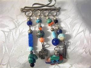 Sterling Silver & Multi Bead Designer Brooch (Image1)