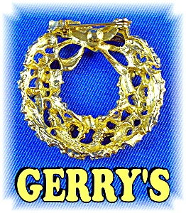 Signed GERRY'S Christmas Wreath Brooch Pin (Image1)