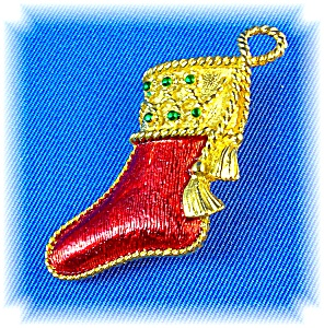 Red And Gold Signed Gerry's Christmas Stocking Pin