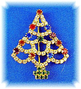 Sparkling Rhinestone  Christmas Tree Brooch Pin (Image1)