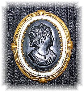 Black Celluloid Pearl And Goldtone Cameo Brooch Pin